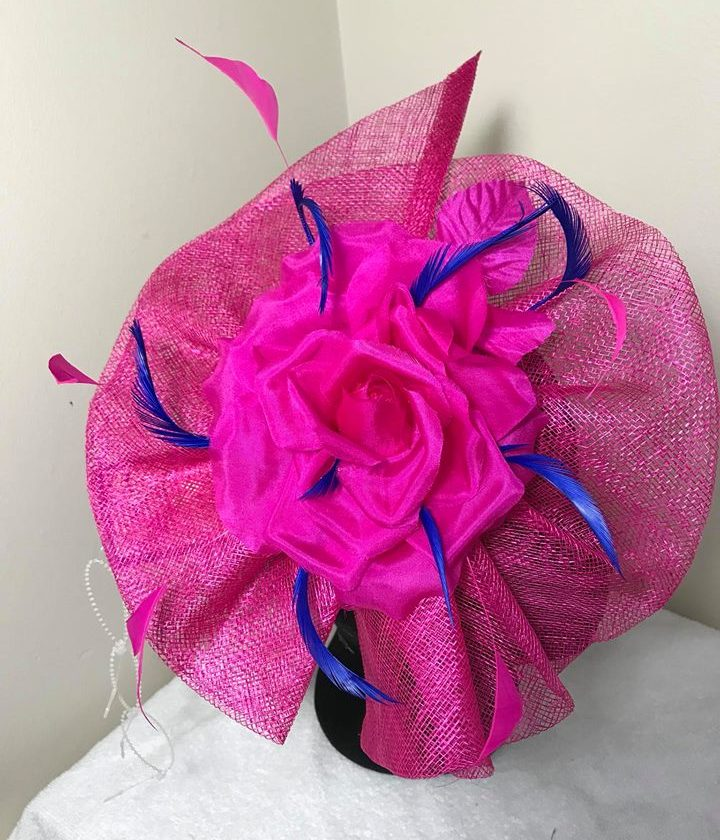 Cerise Pink Royal Blue Sy Fascinator