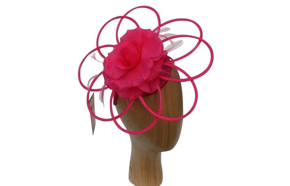 Blossom Fascinator Headpiece Cerise Pink Hot