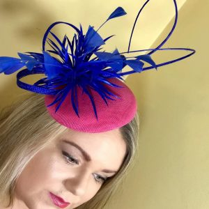 Bright Pink   Royal Blue Fascinator d55a44c8416