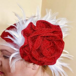 Red Glitter   White Feather Turban for a Special Occasion – Wedding etc cd9563603e0